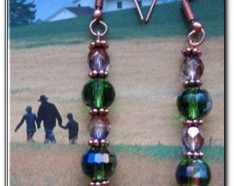 Copper Earrings CE425 - Handmade, One of a kind beaded earrings. 2 3/4 inches long.