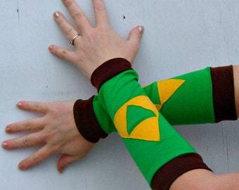 The Legend of zelda Link Triforce inspired Arm Warmer Gloves gamer Cosplay Costume