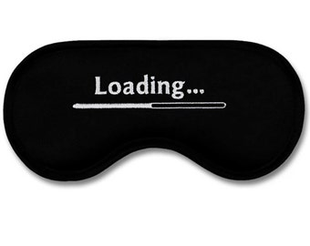 Great and funny sleeping sleep mask / eyemask LOADING - black satin with white embroidery. INGENIOUS GIFT for men! :)