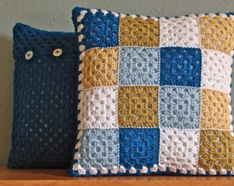 Crochet, Multi-square cushion. Blues and yellows.