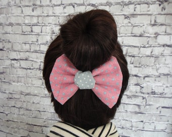 Pink Cotton Fabric With Blue Dots Hair Bow Barrette Alligator Hair Clip For Girls