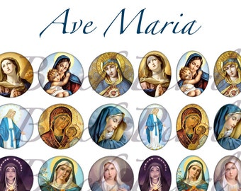 Ave Maria - Page digital images for cabochons - 60 images