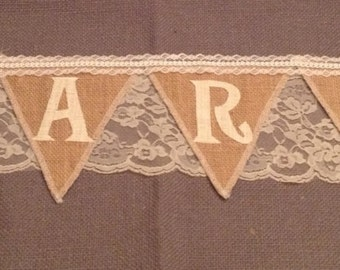 CARDS banner, burlap bunting,with personalized embroidered heart option, 15+ colors of burlap, Product ID# 2014-009