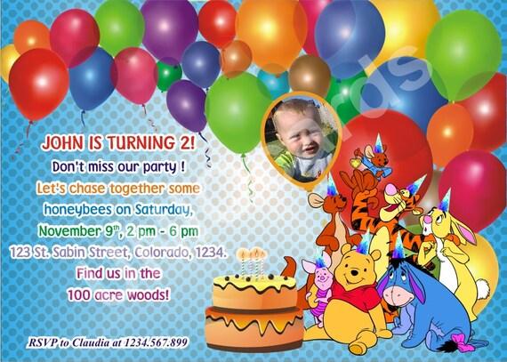 Winnie invitation invitation anniversaire Winnie l'ourson
