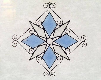 Beveled Glass Snowflake - Blue / Stained Glass Snowflake Suncatcher