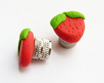 Bike Belle valve caps, Bike Bake Luv Strawberry. Perfect gift for a cyclist
