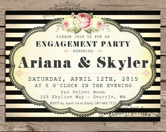 Engagement Party Invitations printable diy Digital File - black and white stripes Fancy Vintage Garden Party No390