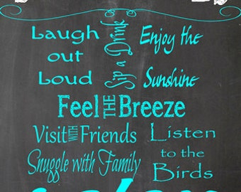 Patio Rules- metal art- Aqua-chalkboard background