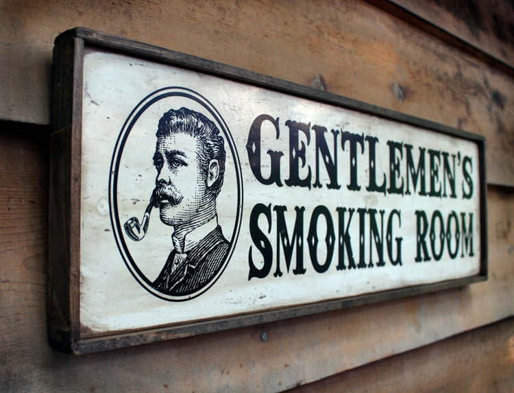 Vintage Wooden Sign Gentlemen S Smoking Room With By
