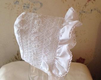 White Smocked Infant Bonnet