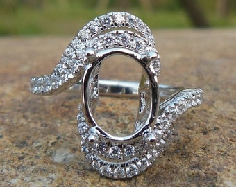 Solid14K White Gold 7X9MM Oval Shape Fashion Semi Mount Ring / Diamond Ring