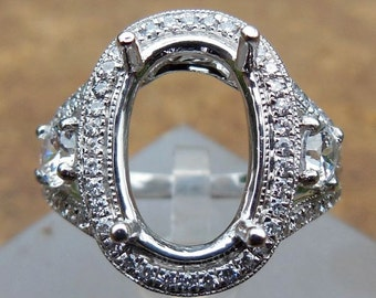 Solid 14K White Gold Oval 9X14MM Fashion Semi Mount Ring / Diamond Ring
