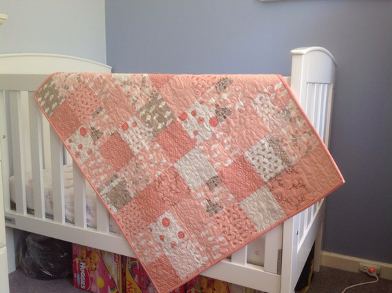 Items similar to baby girl toddler cot lap quilt floor for Floor quilt for babies