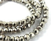 3.2mm Pewter PYRITE Rondelle Beads Faceted - 14 inches (sc.21196)