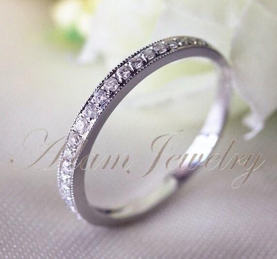 VS Diamonds Ring MILGRAIN 14k White Gold Wedding by AdamJewelry