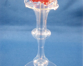 hand blown glass flower in handblown glass vase