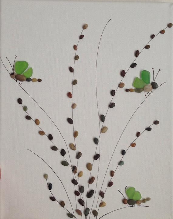 items similar to pebble and sea glass art pebble art beach stones canvas artwork collage. Black Bedroom Furniture Sets. Home Design Ideas