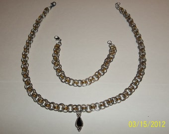 Chainmaille Necklace and Bracelet Set