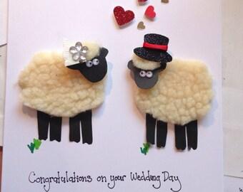 Personalised sheep couple luxury wedding card gifts