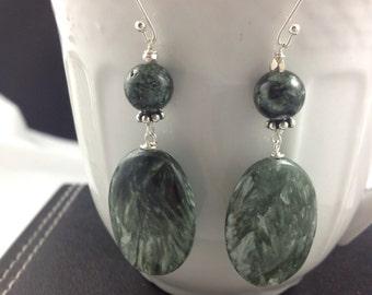 Seraphinite silver earrings
