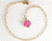 Gold Filled Round 8mm Pink Druzy Quartz Pendant with Chain