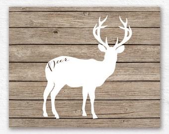 Christmas print, Deer print, INSTANT DOWNLOAD Deer Art, deer nursery print, deer on wooden plank decor, bedroom art, deer antler art