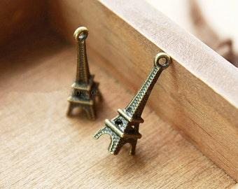 Wholesale 100pcs 23MM*8MM Antique Silver tone/Antique Bronze Eiffel Tower Pendant Charms Findings