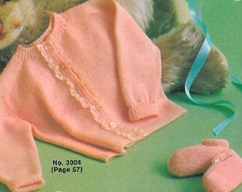 PDF Vintage Pattern - Saddle Shoulder Cardigan & Bootees