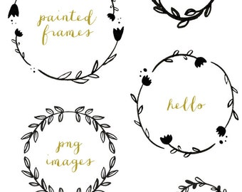 Handpainted Branches Wreath Clip Art