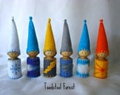Expanded Waldorf  Weather Gnomes Set of 6~Snowy, Windy, Lightning, Stormy, Cloudy, Sunny~Weather Manipulative~Weather Teaching Tool~Peg Doll