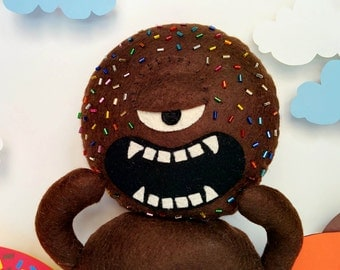 Chocolate Sprinkles Donut Monster Plush - Choco Loco, Brown, Bugle Beads