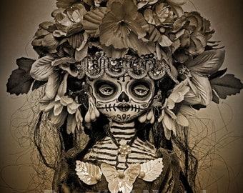 Beautiful Mortal Dia De Los Muertos Goth Sepia Doll Canon PRINT 537 Reproduction by Michael Brown