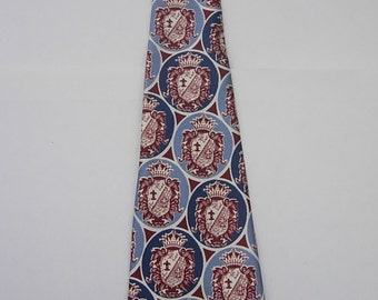 Deadstock Unworn Spectacular 1930s Rayon Bold Crest Tie  -- Still with Tags!