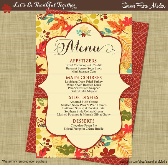 thanksgiving dinner party menu fall autumn dinner party. Black Bedroom Furniture Sets. Home Design Ideas