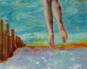 off my feet. original encaustic and collage painting by Jamie McPhail