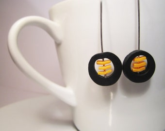 Polymer Clay Black & Yellow Minimalist Disc Earrings