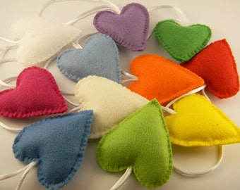 Felt  heart ornaments,  Christmas ornaments, Valentines  day decor, Valentines day  gift, Wedding  favors, Colourful heart, Home decor