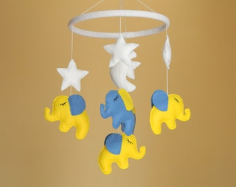 Elephant Baby Mobile, Musical Baby Mobile, Baby Crib Mobile Elephant , Nursery Mobile, blue yellow