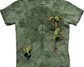 woman's or men's t-shirt, frog, peace tree frog multicolored, stonewashed, size xl  brand new 100% preshrunk cotton