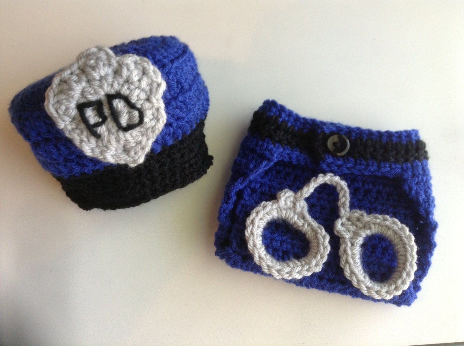 Crochet Police Hat and Diaper Cover Set with Handcuffs