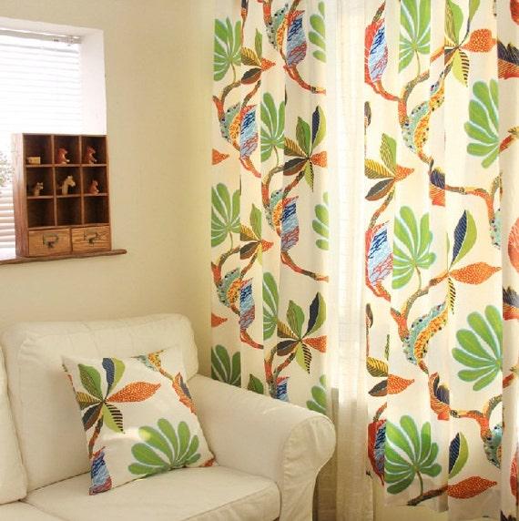 "Cotton Duck Tropical Leaf Print Curtain Panel. 52"" W. Green Orange ..."