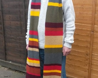 Dr Who Tom Baker inspired season 12 4th doctor scarf available in full 12ft, 3/4 9ft and 1/2 6ftsizes