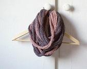 Soft grey-pink crochet shawl from mild wool acrylic mix, braided