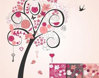 80% OFF SALE Key to My Heart, Pink Tree Scrapbook Paper, Clip Art, Backgrounds, Digital Paper ...
