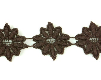 29yds Vintage Guipure Dark Brown Daisy Lace Trim
