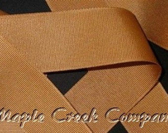 "5 yards Old Gold (Antique Gold) Grosgrain Ribbon, 4 Widths Available: 1 1/2"", 7/8"", 5/8"", 3/8"""