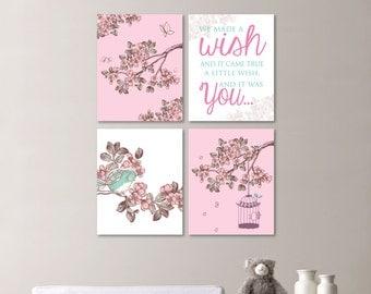 Baby Girl Nursery Print Art - Cherry Blossom Nursery - Cherry Blossom Art - Bird Nursery - Bird Art - Bird Print - You Pick the Size -NS-519