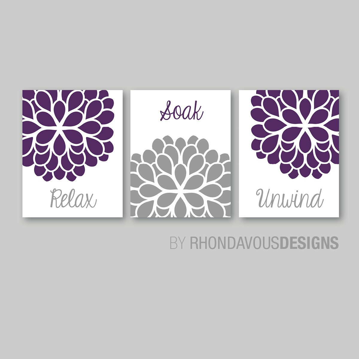 Bathroom decor bathroom art relax soak unwind flower for Bathroom decor purple