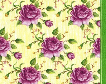 "6 Decoupage Napkins Flowers/Floral 33x33 cm. 13""x13"" set of 6 pcs"