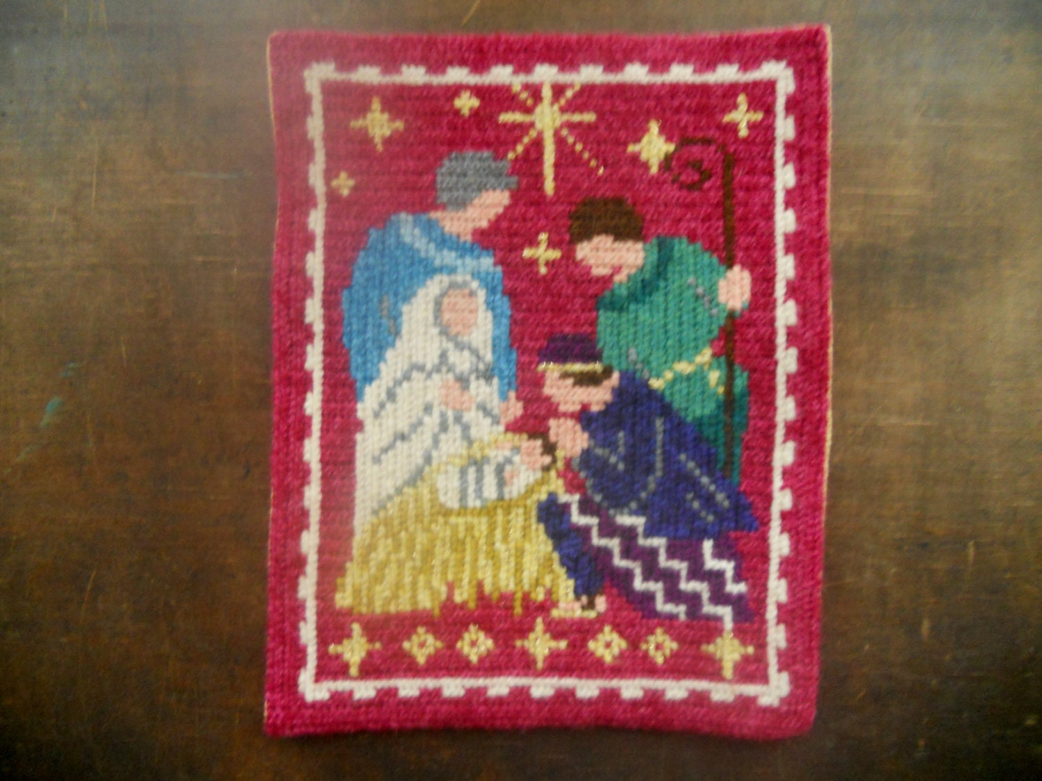 Vintage Swedish Embroidery Religious Christmas Embroidery For